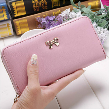 Cards Holder Wallet Ladies Cute Bowknot Women Long Wallet Pure Color Clutch Bag 2020 New PU Leather Purse Phone Card Holder Bag vintage handmade natural cow leather women s large burgundy wallet card case retro long wallet phone holder ladies clutch purse