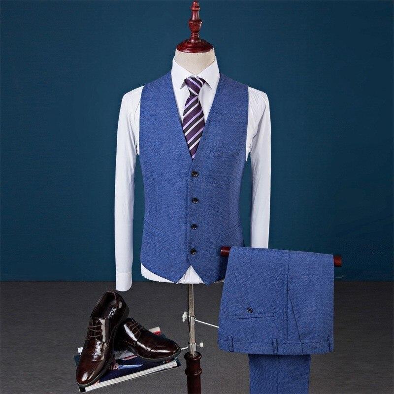 Nouveau Slim Fit hommes costumes mariage marié grande taille 4XL 2020 Gentleman affaires décontracté smoking robe mâle gris foncé bleu 3 pièces costume - 3