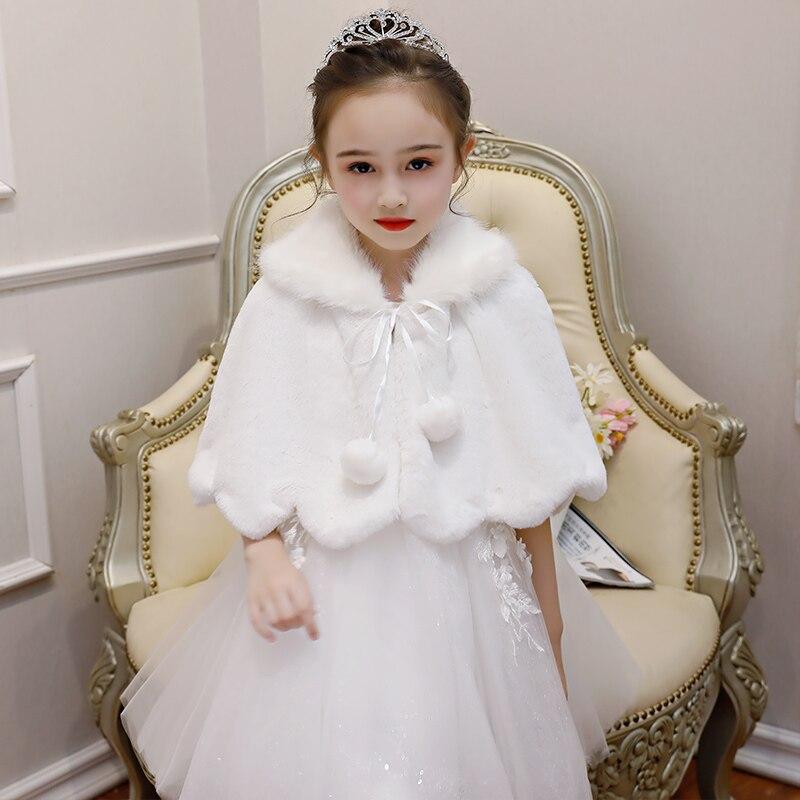 White Flower Girls Bolero Shrug Faux Fur Wrap Shawl Jacket Cape Stole Kids Coat Short Cloak Cape For Wedding Evening Dress