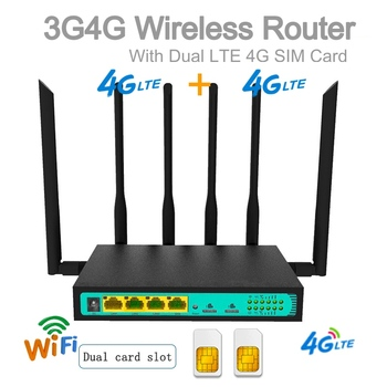 4g Router 2 Sim Card 300Mbps Dual PCIE Slot Wireless Wi-fi Router Dual SIM Card Slot 3g 4g lte Wifi Router For Office Industrial  - buy with discount