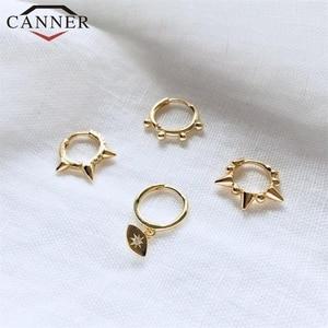 925 Sterling Silver Geometric Bead Rivet Earrings for Women Round Cross small Hoop Earrings INS ear Jewelry(China)