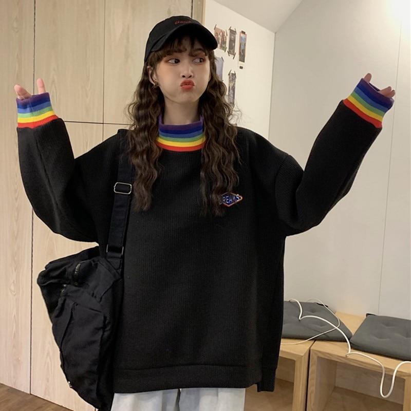 Spring Black Sweatshirt Women Rainbow Striped Print Sweatshirts Lady Casual Turtleneck Long Sleeve Pullover