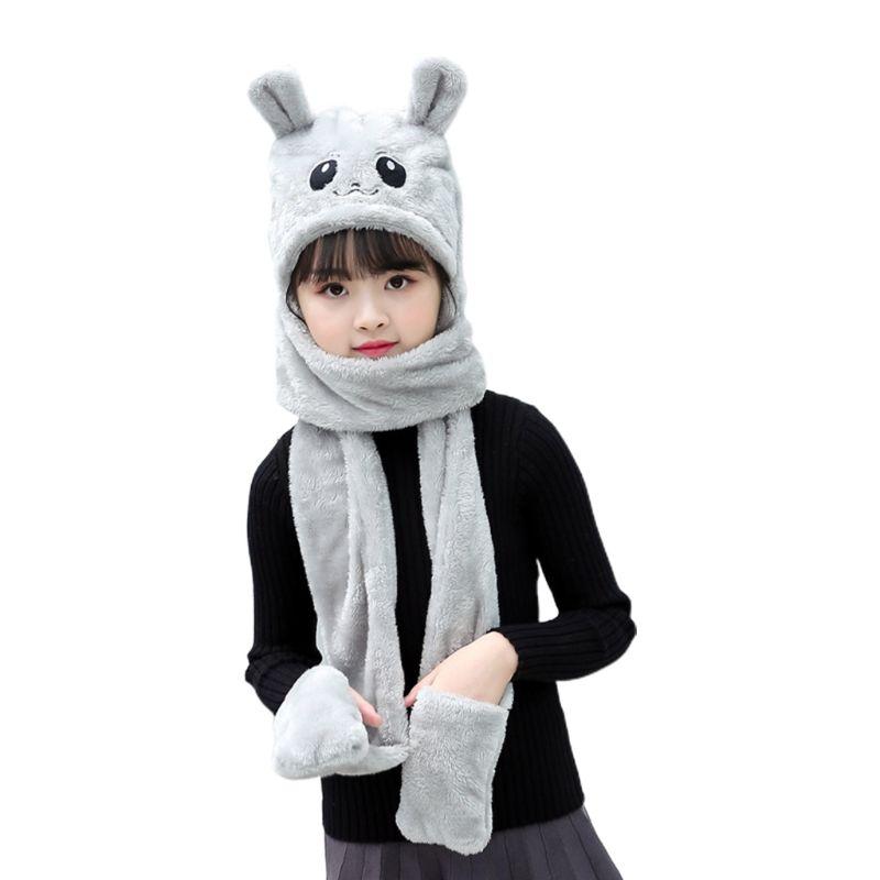 2020 Unisex 3 In 1 Kids Scarf Hat Gloves Thick Plush Animal Pattern Hoodie Earflap