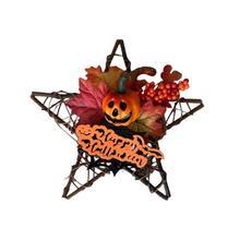 Simulation Halloween Wall Hanging Wooden Five-Star Maple Leaf Pumpkin Decoration Pendant