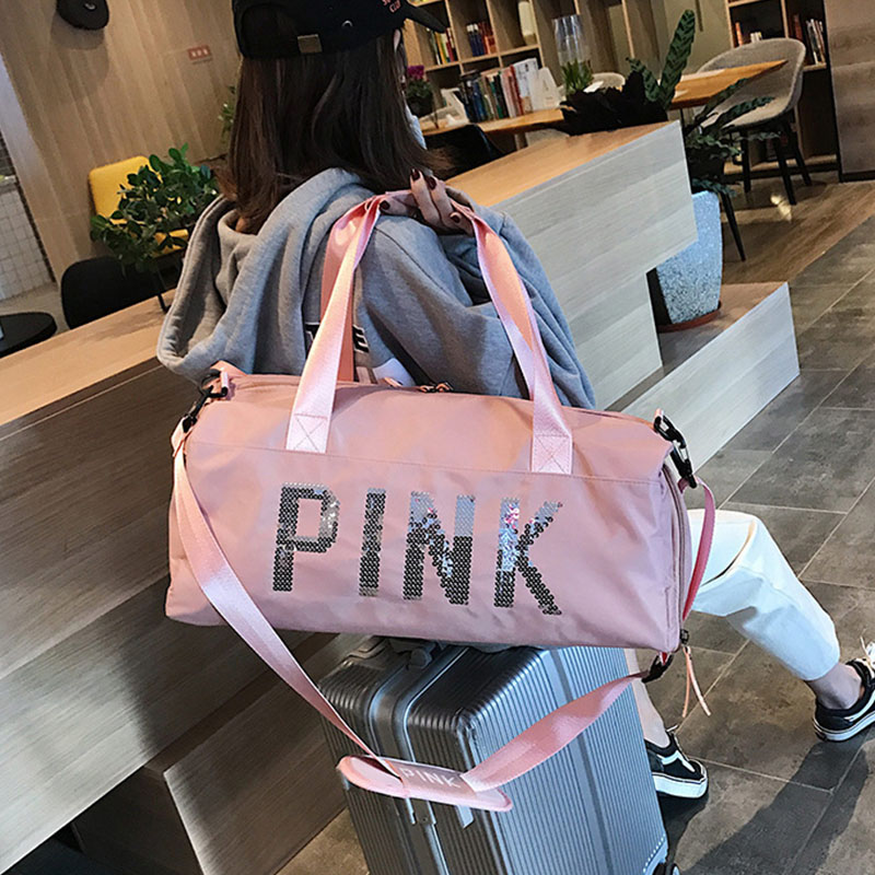 Yoga Fitness Bag Waterproof Nylon Training Shoulder Crossbody Sport Bag For Women Fitness Travel Duffel Clothes Gym Bags Pink