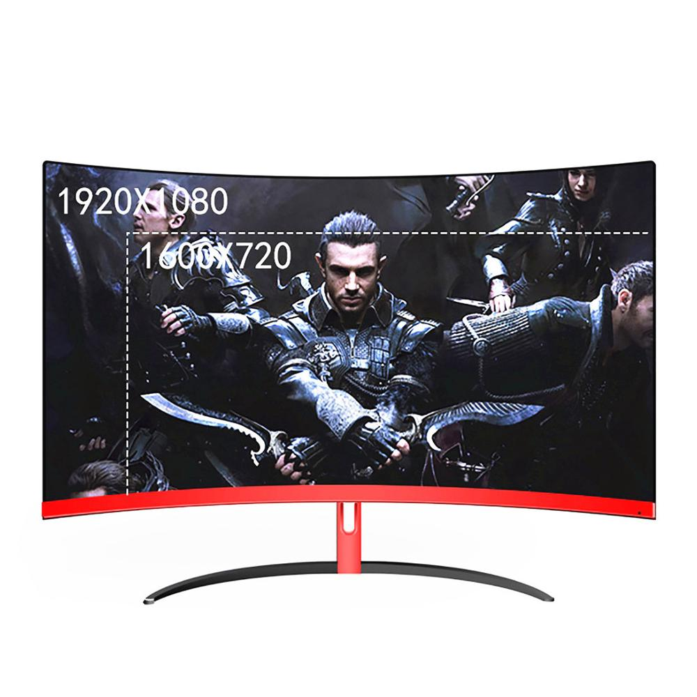 Wearson 32 Inch Curved Gaming Monitor LCD 2mm Side Bezel-Less HDMI VGA Input Eye Care Flicker Free