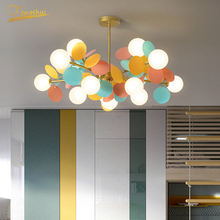 Nordic Creative Color LED Glass Chandelier Modern Minimalist Blade Chandelier LOFT Bedroom Restaurant Living Room Hanging Lamps chandelier lighting restaurant minimalist living room bedroom creative american european retro chandelier iron lights chandelier