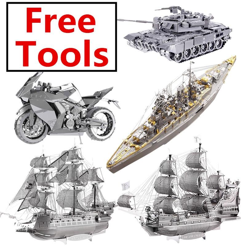 Piececool 3D Metal Puzzle Russian Japan Kongou Nagato Battleship DIY Assemble Model Kits Laser Cut Jigsaw Toy Gift For Adults