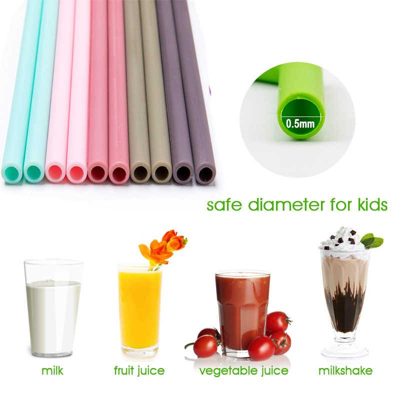 1PC 재사용 가능한 실리콘 빨 대 아기 Teether 식품 학년 실리콘 유연한 구부러진 친환경 빨 대 신생아 액세서리 치아