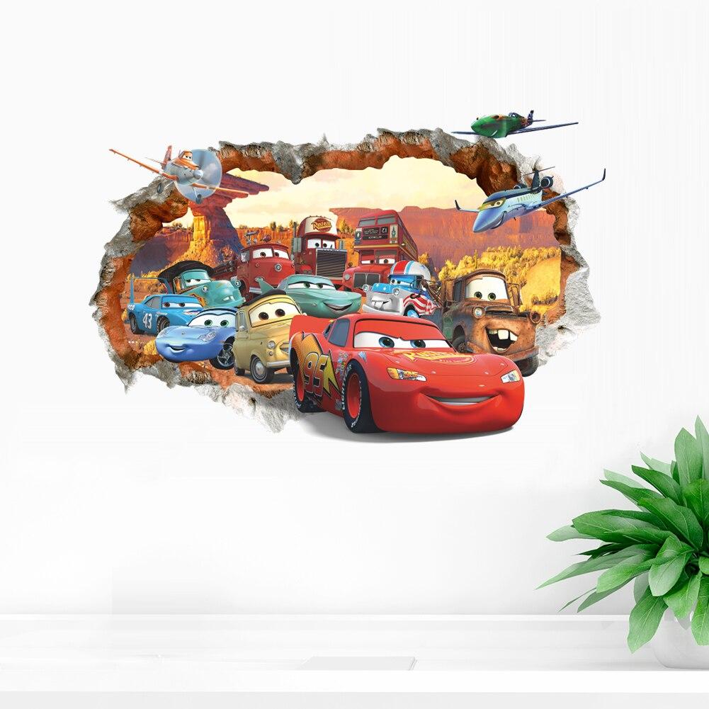 Cartoon Disney Cars Lightning Mcqueen 3D Window Wall Stickers For Home Decor Bedroom Wall Decals Pvc Mural Art Diy Poster