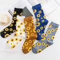 PEONFLY женские короткие носки в Корейском стиле с подсолнухами творческое искусство Харадзюку японские счастливые носки хлопковые носки для ...