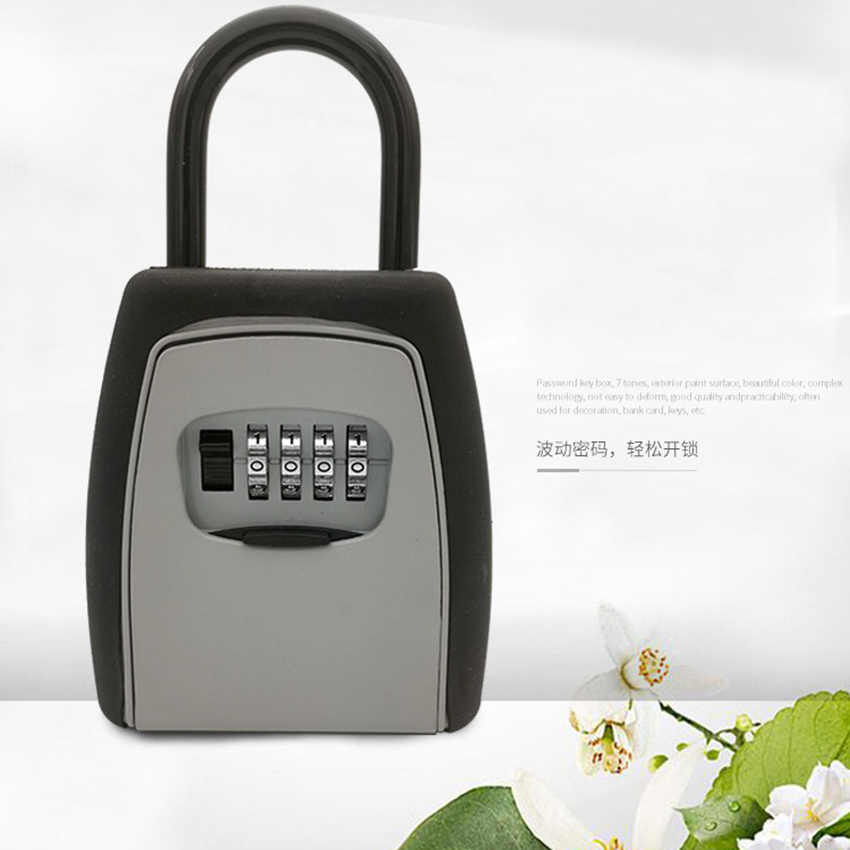 Key Storage Lock Box Safe Box Keys Storage Box Padlock Use Password Lock Alloy Material Keys Hook Security Organizer Boxes