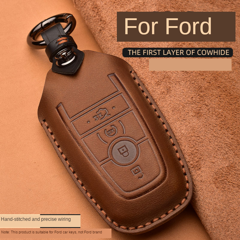 Crazy Horse Leather Car Key Case For Ford Mustang 2018 EcoSport Smart Remote Fobs Shell Cover Keys Bag Keychain Auto Accessories