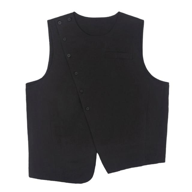 [EAM] Women Loose Fit Black Irreuglar Split Temperament Vest New Round Neck Sleeveless   Fashion Tide Spring Autumn 2021 1DB169 6