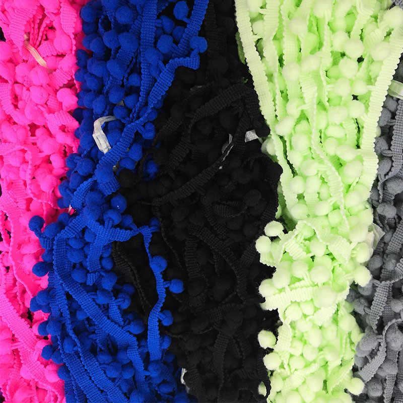 5 jardów koronka pom pom wykończenia piłka 10 mm MINI perła pompon wstążka z frędzlami szycia koronki Kintted tkaniny Handmade DIY akcesoria rzemieślnicze