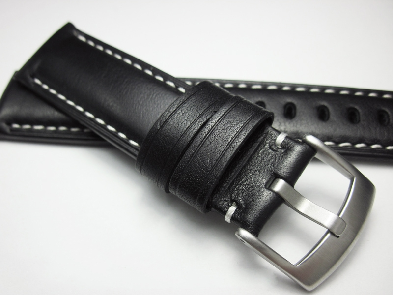 Watch Strap 20 21 22 24 26mm Black Line Thick Man Motion Watchband Genuine Leather Bracelet High Quality Cowhide Wristband Belt
