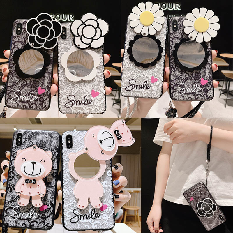 Lace Flower Makeup Mirror Phone Case For <font><b>Samsung</b></font> Galaxy A70 A80 A90 A50 A40 A30 A20 M10 M20 M30 A6s A8s With Lanyard <font><b>Back</b></font> <font><b>Cover</b></font> image