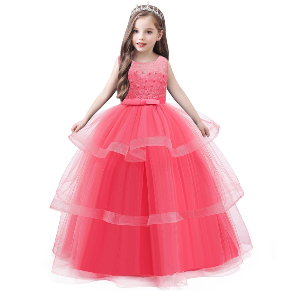 Flower Girl Princess's Birthday Party Official Dinner Evening Dress Girl's Evening Show Long Bead Embroidery Dresses