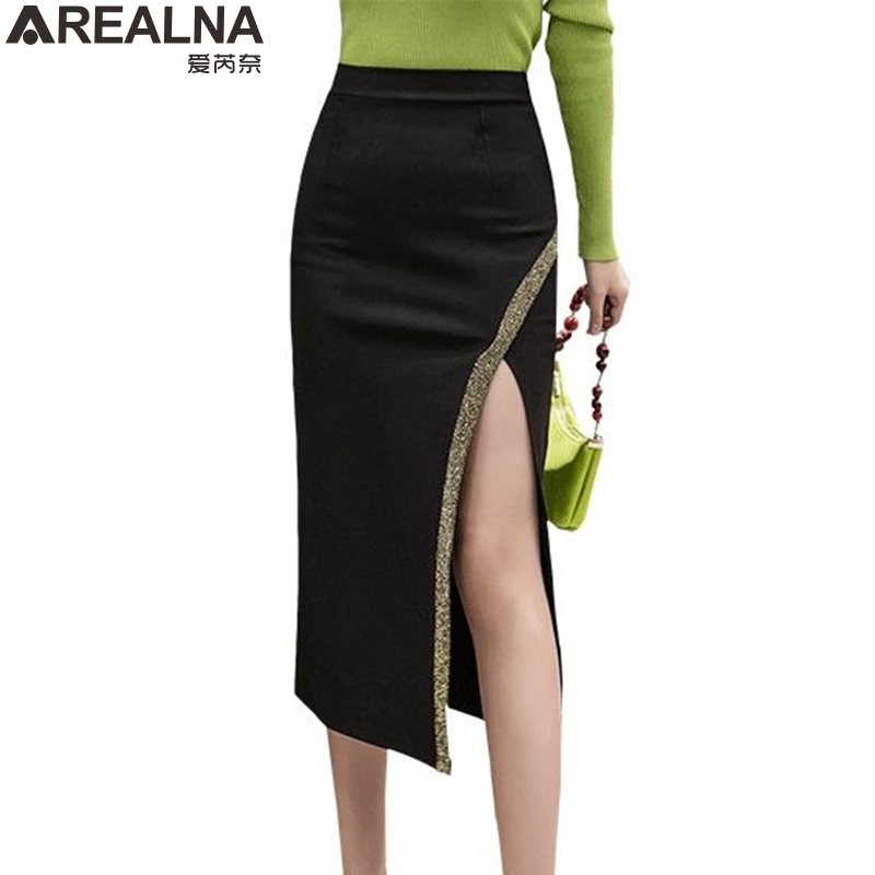 2020 spring pencil <font><b>skirts</b></font> womens fashion Split <font><b>sexy</b></font> plus size high waist midi <font><b>skirt</b></font> Women's <font><b>skirt</b></font> jupe femme falda mujer S-<font><b>5XL</b></font> image