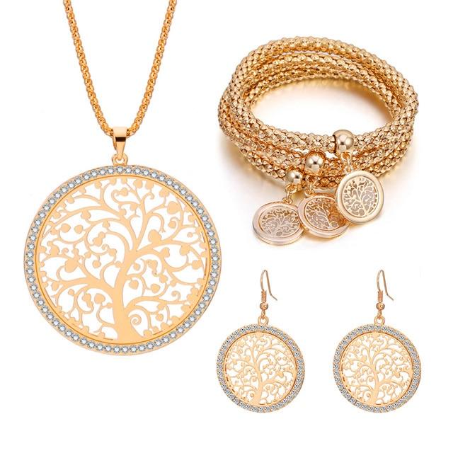 $ US $9.03 Luxury Women Jewelry Set Long Necklace 3PCS Popcorn Chain Bracelet Tree of Life Earrings Crystal Jewelry Anniversary Gift 2019