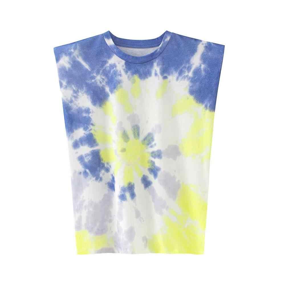 2020 夏の女性の新デザインセンスニッチ流行肩パッドプロファイルベストtシャツ無地野生ルーズルーズスリムトップ