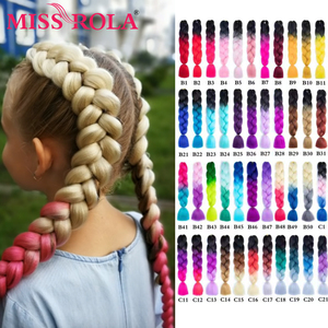 Miss Rola 100g 24 Inch Single Ombre Color Green Pink Yellow  Blonde Synthetic Hair Extension Twist Jumbo Braiding Kanekalon Hair