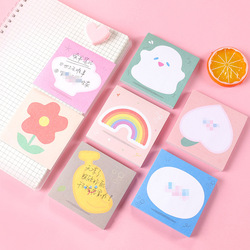 Ins Rainbow Flower Bear Memo Pad Message Sticky Notes Decorative Notepad Note paper Memo Korean Stationery Office Supplies