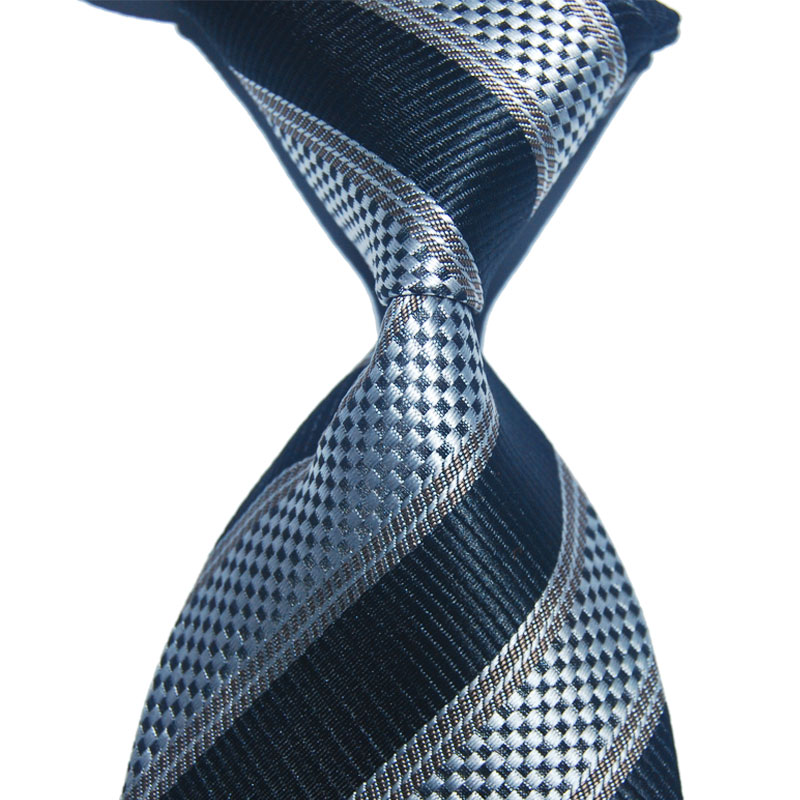 Formal Wear Suit Tie Striped Men Silk Necktie Black 10cm Wide Fashion Jacquard Woven Gift For Business Christmas Wedding Party