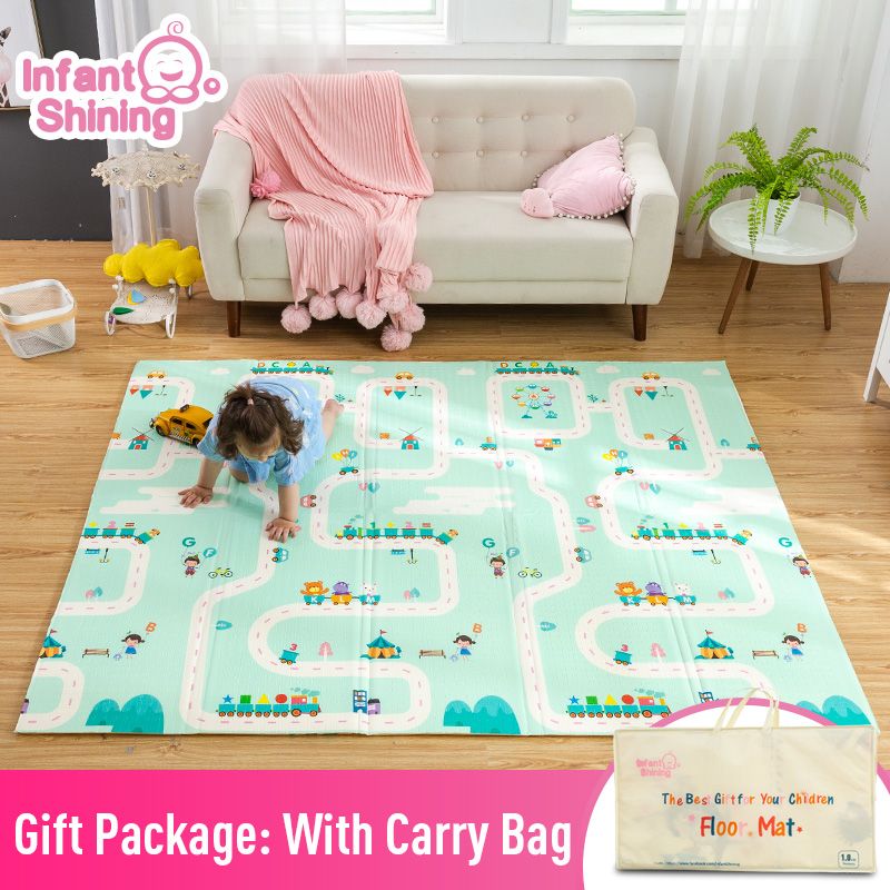 Image 2 - Infant Shining Thickened 1.5cm Play Mat 200*180cm Foldable Cartoon Baby Playmat Children Crawling Pad Puzzle Non slip Game Pad-in Play Mats from Toys & Hobbies