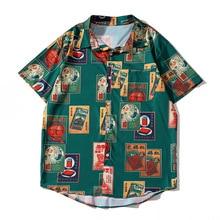 Зеленый Harajuku летом с коротким рукавом футболки Мужчины Женщины одежда отложным воротником печать Гавайская одежда повседневная мода топ