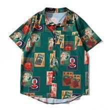 Green Harajuku Summer Short Sleeve Shirts Men Women Streetwear Turn-down Collar Print Hawaiian Clothes Fashion Casual Top