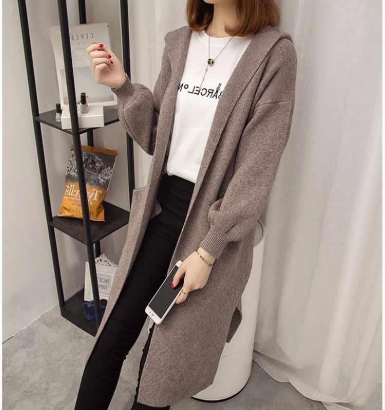 Herfst Losse Kasjmier Trui Vest Vrouwen 2019 Fashion Hooded Knit Lange Vest Winter Open Stitch Oversized Jas Vrouwelijke