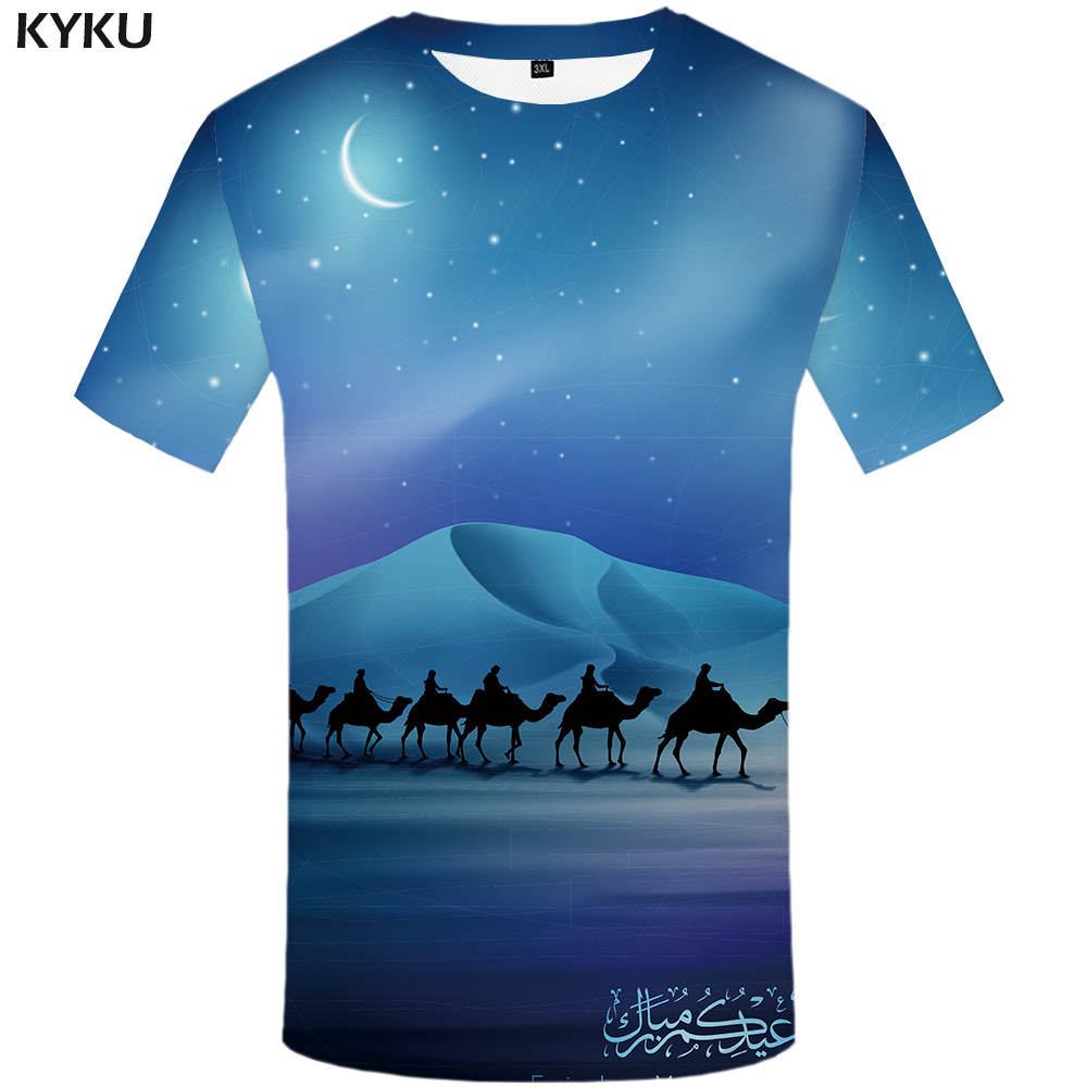 KYKU Camel T <font><b>Shirt</b></font> Men MoonT-<font><b>shirt</b></font> <font><b>3d</b></font> Tshirt Funny T <font><b>shirts</b></font> <font><b>Sexy</b></font> <font><b>Shirts</b></font> Hip Hop Mens Clothing Casual Summer tops image