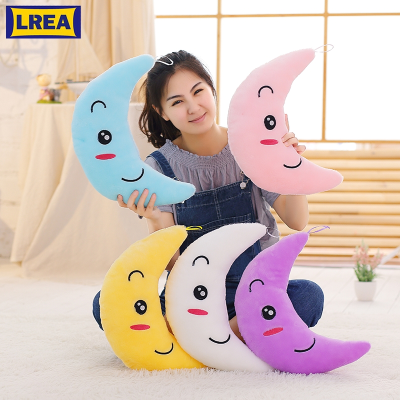 LREA 38*28*15CM New  Colorful Flashing Moon Cojines Plush Toys Sleep Luminous Led Light Cushion Pillow Doll Birthday Gifts