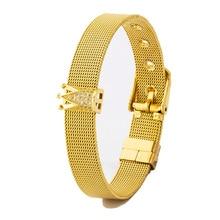 New Fashion Adjustable Stainless Steel CZ Bracelet Women Men Width Watch Belt Bracelet Bangle Jewelry Charm Crown Bead Bracelet недорого
