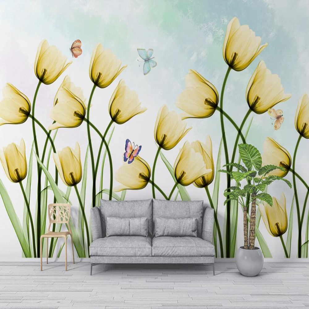 Custom Large 3D Wallpaper Mural Nordic Style Minimalist Tulip Living Room Background Wall Decoration Wallpaper Mural