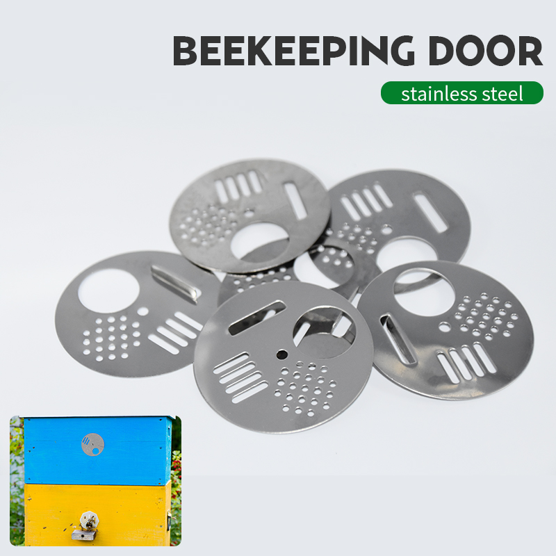 5Pcs Beehives Bee Hive Nuc Box Door Cage Round Hive Hole Entrance Disc Nest Door Vent Equipment Beekeeping Tools Supplies