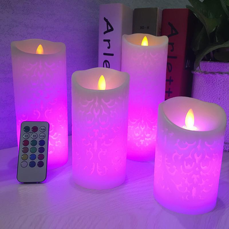 Dancing Flame Led Candle With Remote Control, Wax Pillar Candle For Wedding Christmas Decoration / Room Night Light Party Lamp