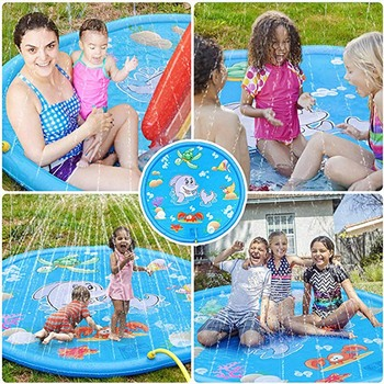 170cm Summer Children's Outdoor Play Water Spray Games Beach Mat Lawn Inflatable Sprinkler Cushion Toys Cushion Gift Kids Baby 2