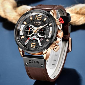 LIGE męskie zegarki koszulka na prezent luksusowa marka wodoodporny zegarek sportowy chronograf kwarcowy wojskowy skórzany Relogio Masculino + Box tanie i dobre opinie 24cm Moda casual QUARTZ 3Bar Sprzączka CN (pochodzenie) STAINLESS STEEL 14mm Hardlex Kwarcowe zegarki Papier Skórzane