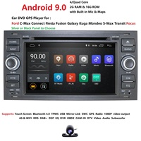HIZPO 1080P HD Android 9.0 Car DVD Navigation For Ford Kuga Mondeo Transit Focus connect C/S Max Wifi 4G DVR rear camera map