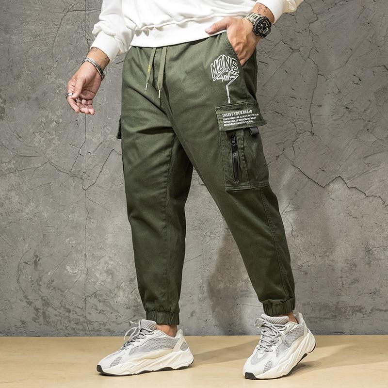 97% coton armée vert taille élastique Pantalon Style militaire hommes avec Anti-vol poche lettre impression tactique Pantalon Homme 46 7xl