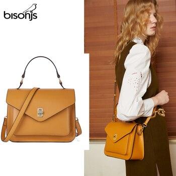 BISONJS Cow Leather Women's Bag Vintage bag women 2020 luxury handbags women bags designer female shoulder bag Hot Sale B1930