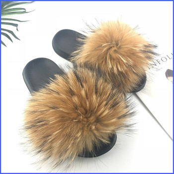 Women Fur Slides Summer Shoes Home Woman Luxury Furry Slippers Indoor Female Sandals Fluffy Cute Raccoon 2019 New Plus Size