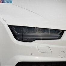 2 pçs carro farol película protetora vinil transparente preto tpu etiqueta para audi a7 s7 rs7 4k 4g 2015-presente acessórios