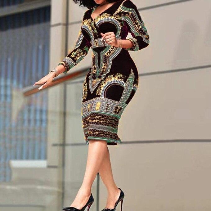 African Ladies Dresses Elegant Wrist High Waist V Neck Vintage For Work...