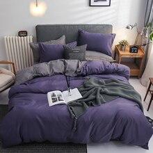 Double Solid Color Duvet Cover Set Nordic Simple Bedclothes 3/4PCS Soft Bedding Set Size 220x240 Single Queen King Quilt Covers