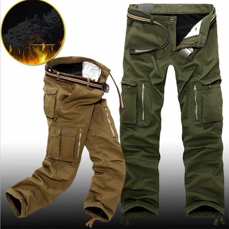 Winter Fleece Warm Tactical Pants Zip Cotton Trousers Loose Army Green Cargo Pants Men Casual Plus Thicken Tooling Pants size 40