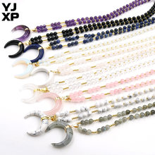 YJXP Beaded Long Chain Necklaces for Women Natural Crystal Amethysts Crescent Moon Pattern Horn Shape Pendants Charms Jewelry(China)