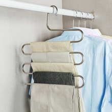 Multi Layers Pants Hangers S-Shape Closet Storage Space Saving for Trousers Home Room JA55